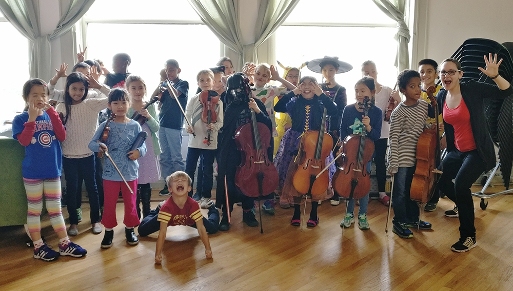 Overture Strings students dressed for Halloween