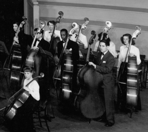 Richard Davis (center) pictured with the original bass section from CYSO's first concert, November 1947
