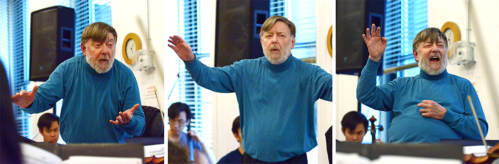 Composite image of Sir Andrew Davis' many expressions while conducting