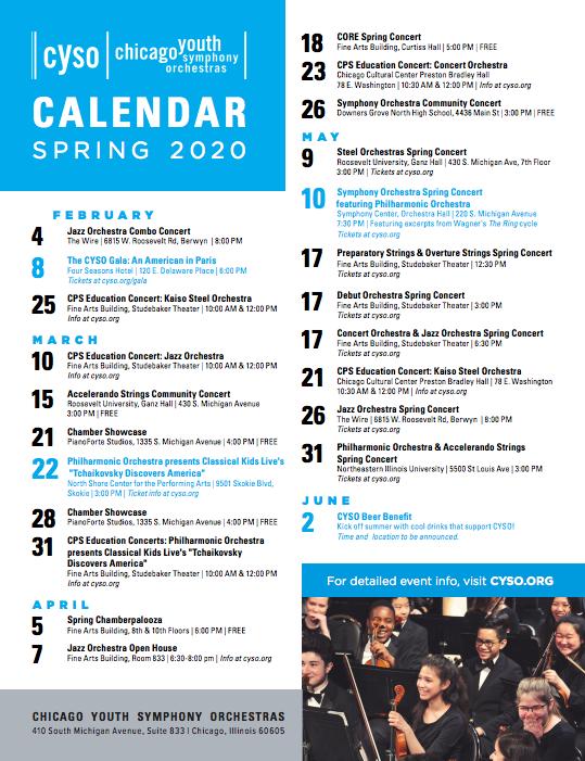 CYSO Spring 2020 calendar