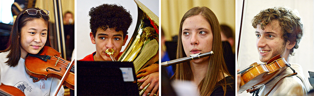 Composite image of Symphony Orchestra student playing viola, trombone, flute, and violin