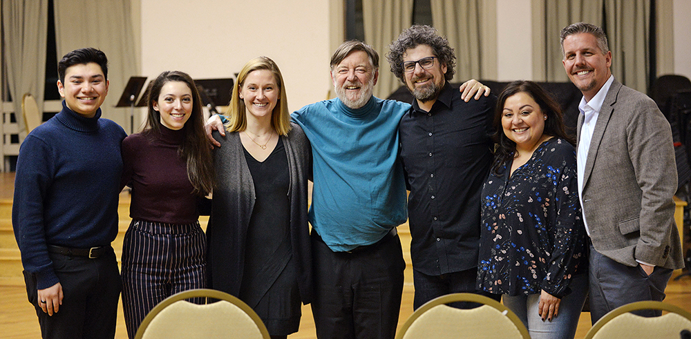 Group photo of Symphony Orchestra members Oliver Talukder and Catherine Ramsey, CYSO Executive Director Susan Lape, Sir Andrew Davis, CYSO Music Director Allen Tinkham, CYSO Director of String Ensembles Daniella Valdez, Lyric Opera Director of Learning Programs Todd Snead
