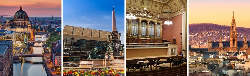 Views of the four cities CYSO's tour will visit: Berlin, Leipzig, Prague, Vienna