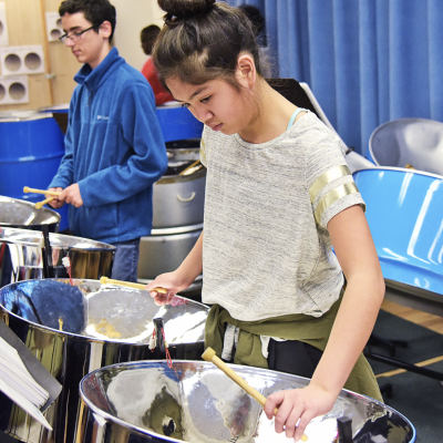 Steelpan students rehearsing at CYSO