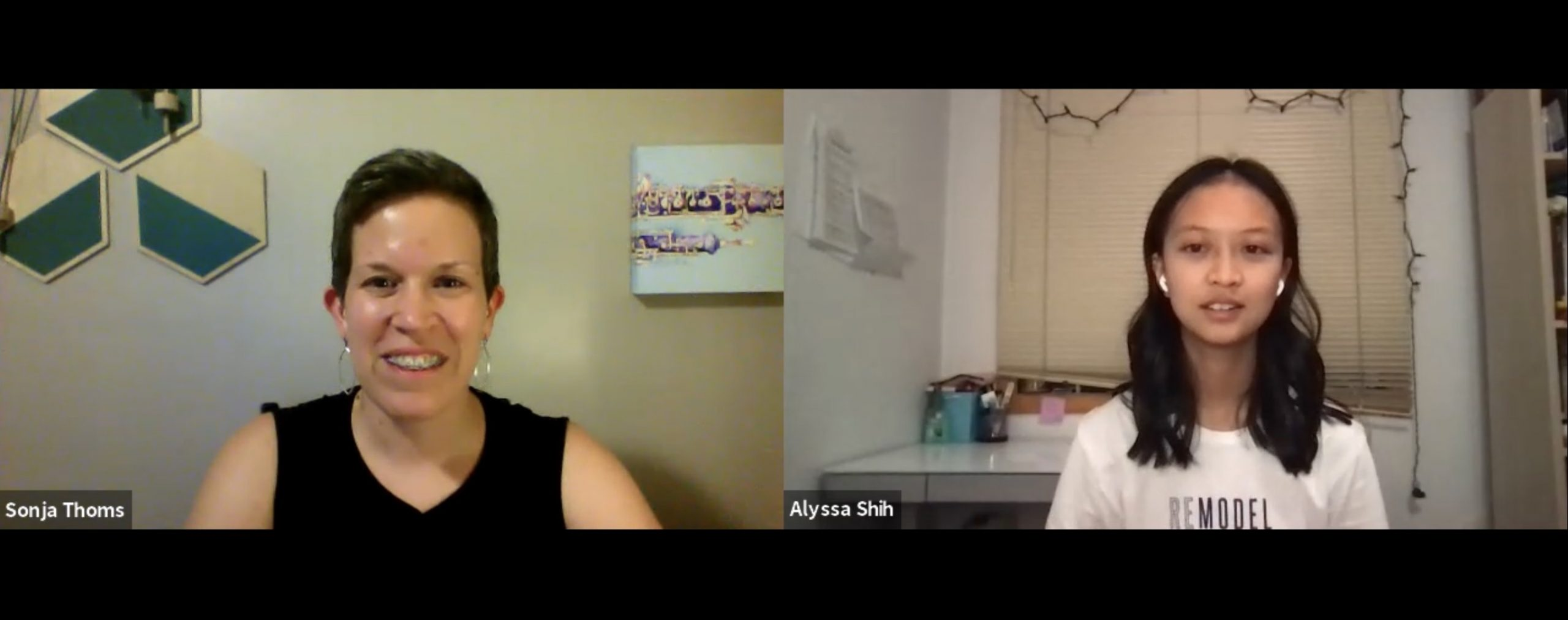 Zoom call with Sonja Thoms and Alyssa Shih