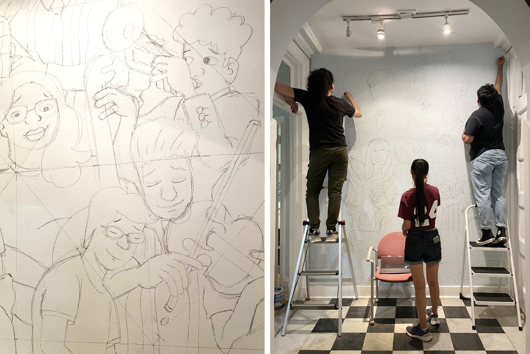 Collage of two photos: Left is a pencil sketch of the mural and right, three people shown from the back sketching the mural on the wall