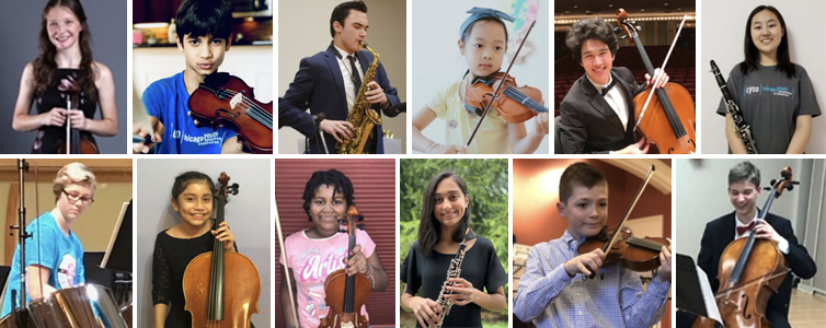 Collage of photos submitted by CYSO musicians holding their instruments